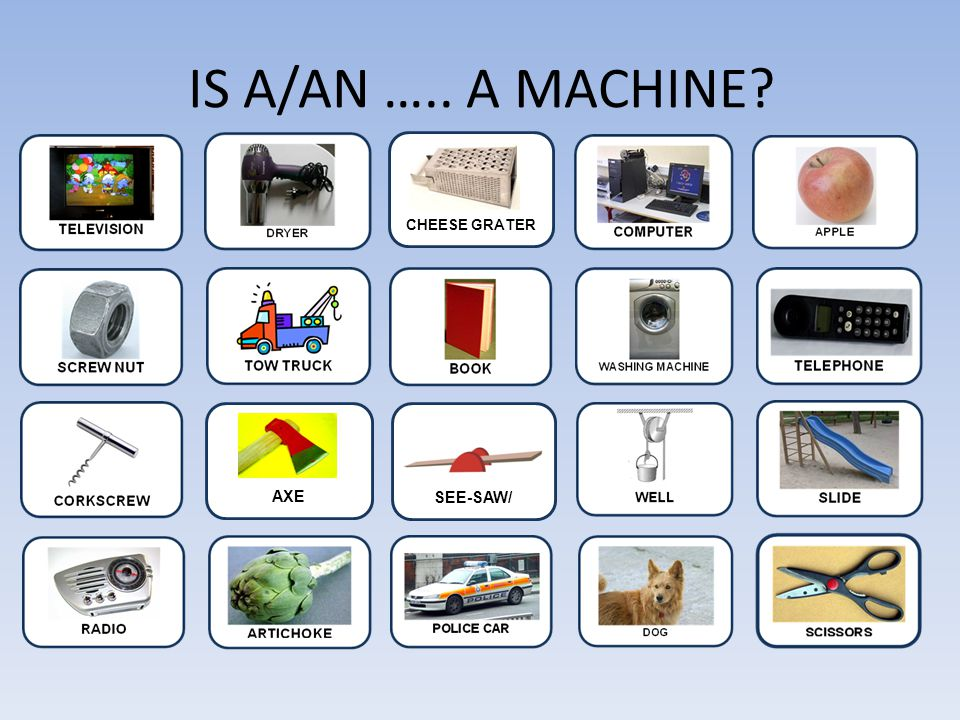IS A/AN ….. A MACHINE CHEESE GRATER u AXE SEE-SAW/