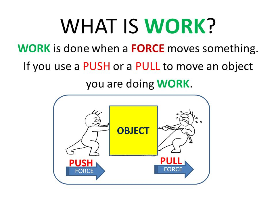 WHAT IS WORK WORK is done when a FORCE moves something. If you use a PUSH or a PULL to move an object you are doing WORK.
