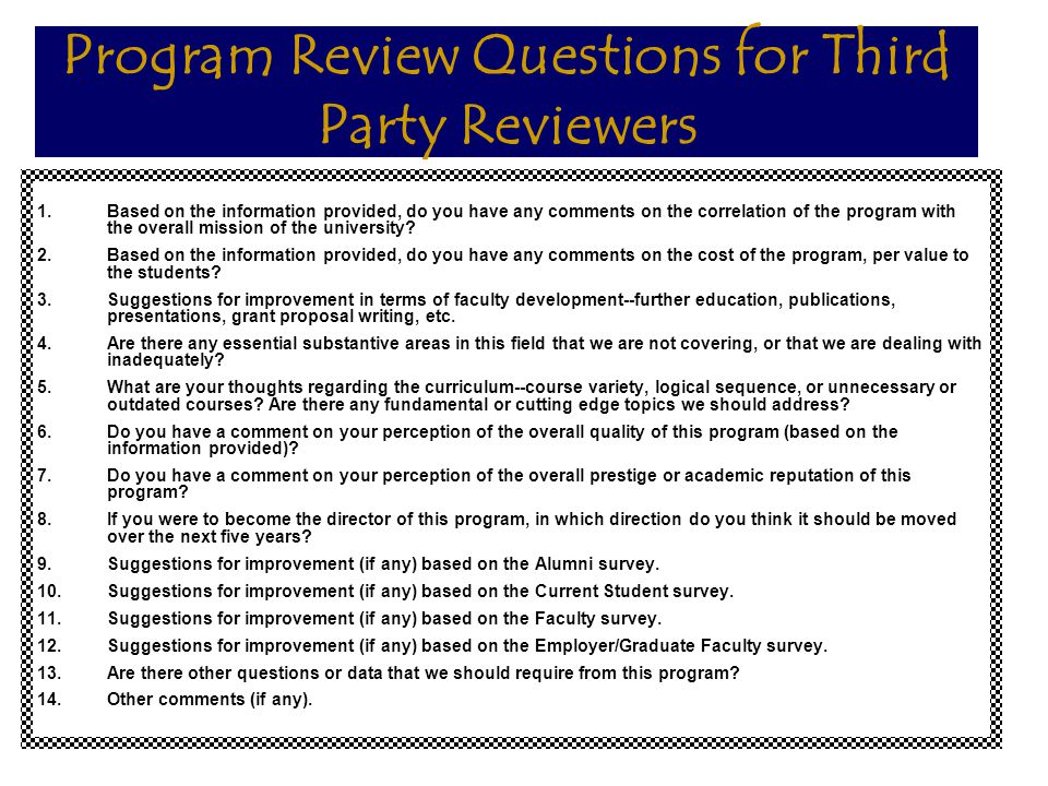 Program Review Questions for Third Party Reviewers