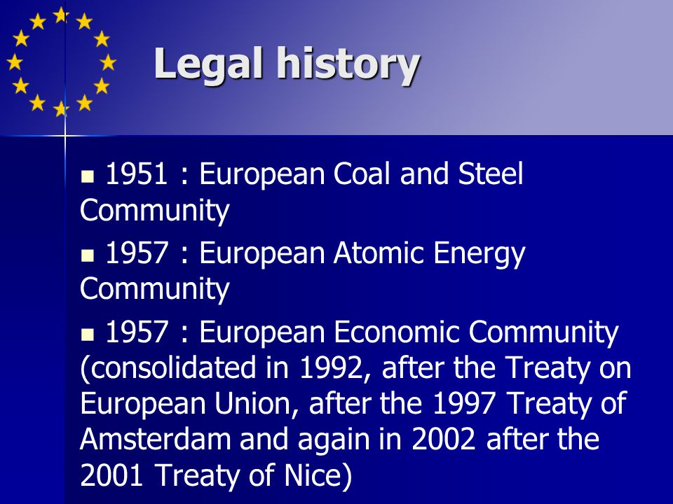 Legal history 1951 : European Coal and Steel Community