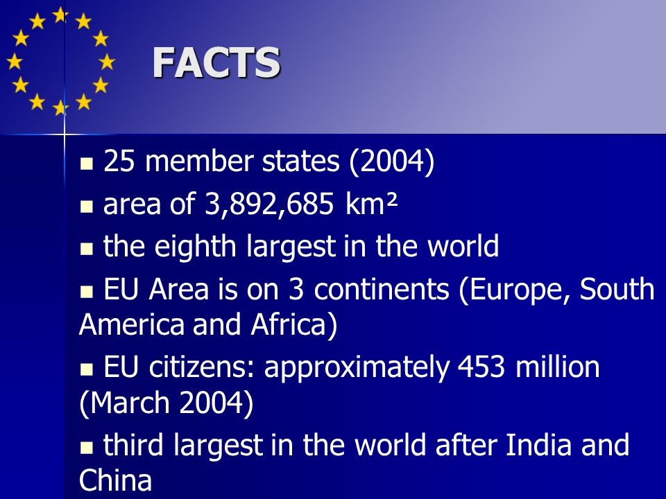 FACTS 25 member states (2004) area of 3,892,685 km²