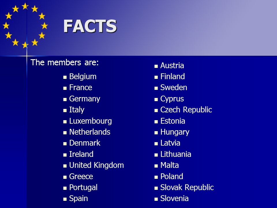 FACTS The members are: Belgium France Germany Italy Luxembourg