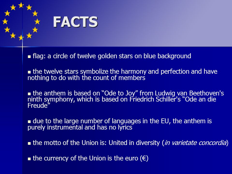 FACTS flag: a circle of twelve golden stars on blue background