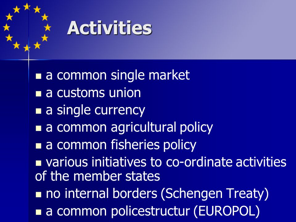 Activities a common single market a customs union a single currency