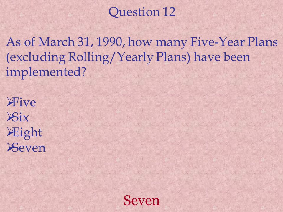Question 12 As of March 31, 1990, how many Five-Year Plans (excluding Rolling/Yearly Plans) have been implemented
