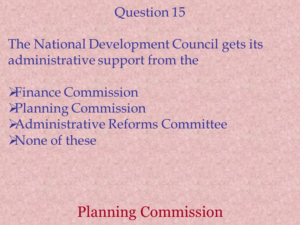 Planning Commission Question 15