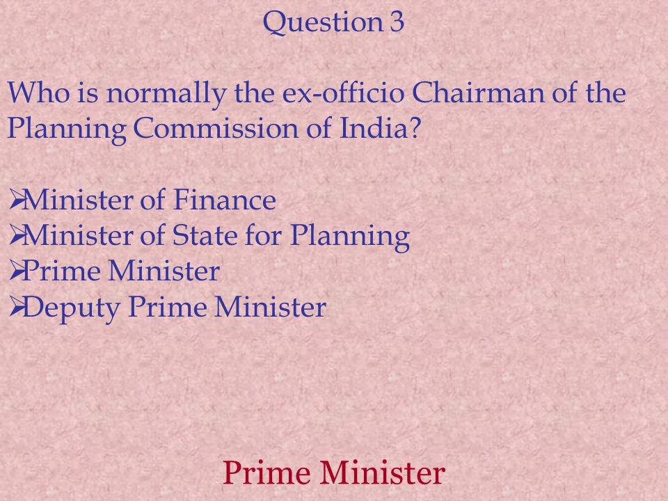 Prime Minister Question 3