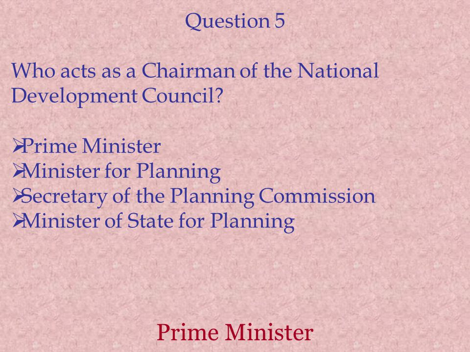Prime Minister Question 5