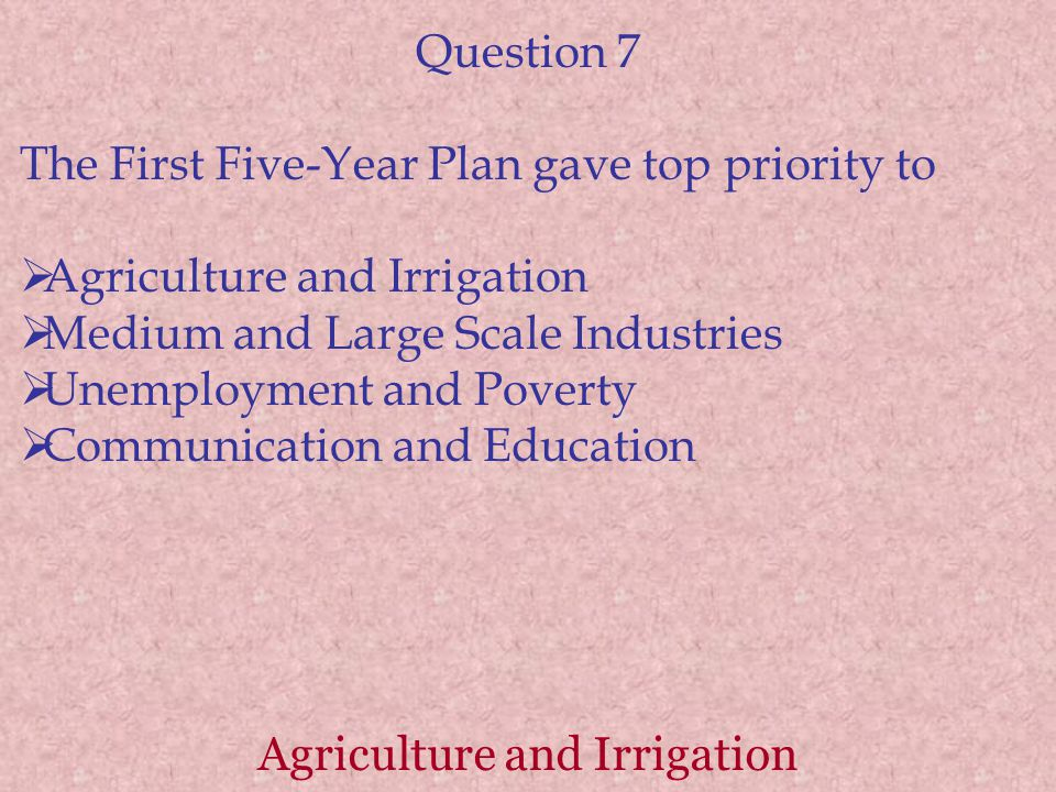 Agriculture and Irrigation