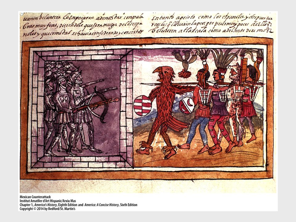 Ask students to describe the action taking place here in this illustration of the conquistadors' battle against the Aztecs.