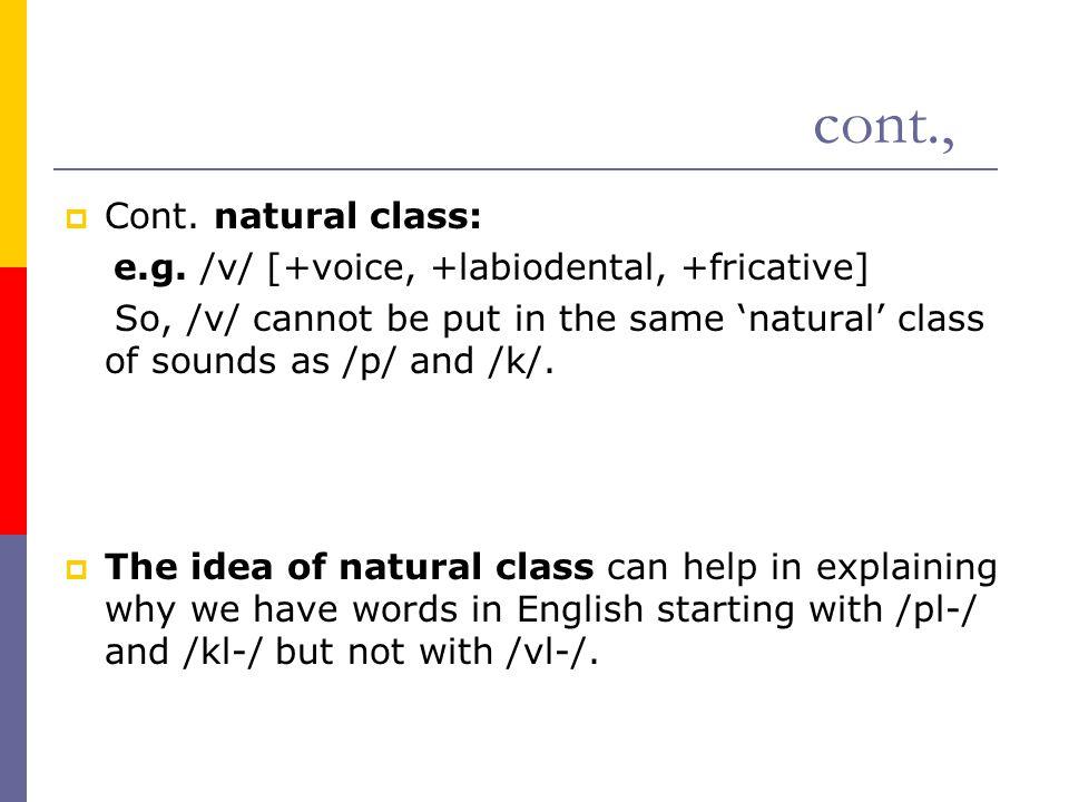 cont., Cont. natural class:
