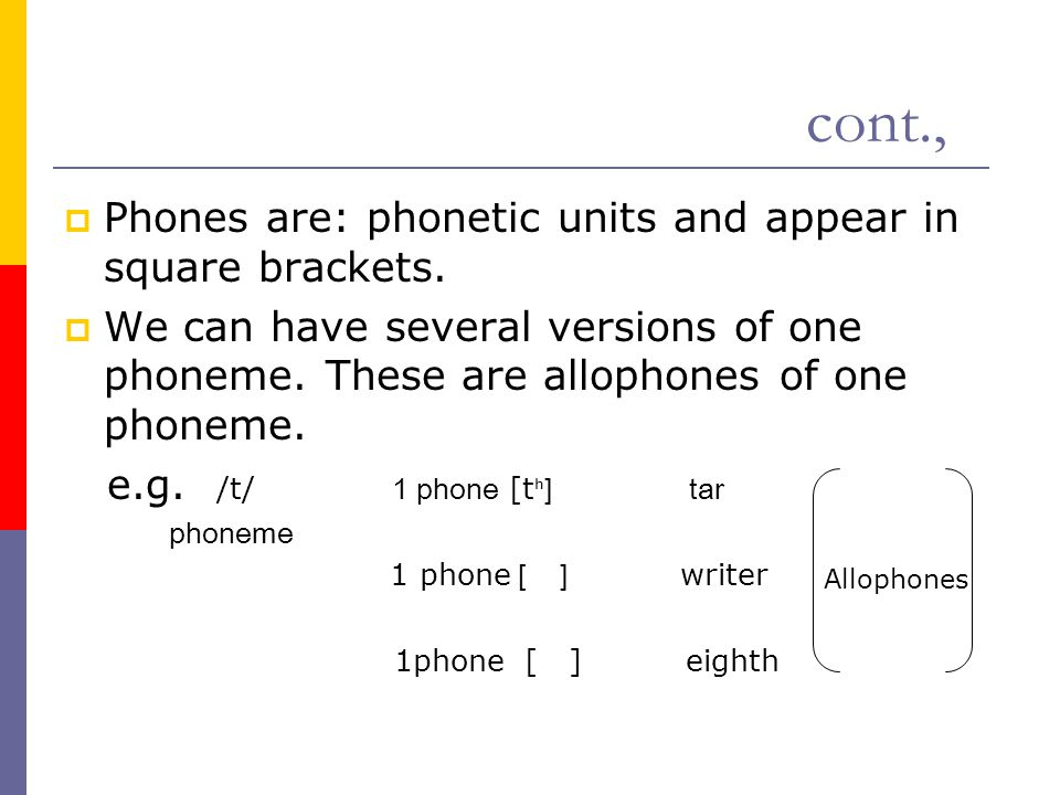 cont., Phones are: phonetic units and appear in square brackets.