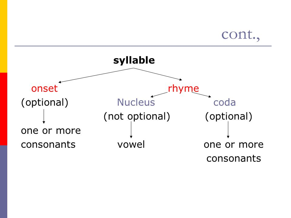 cont., syllable onset rhyme (optional) Nucleus coda