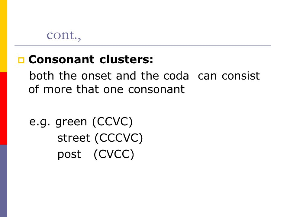 cont., Consonant clusters: