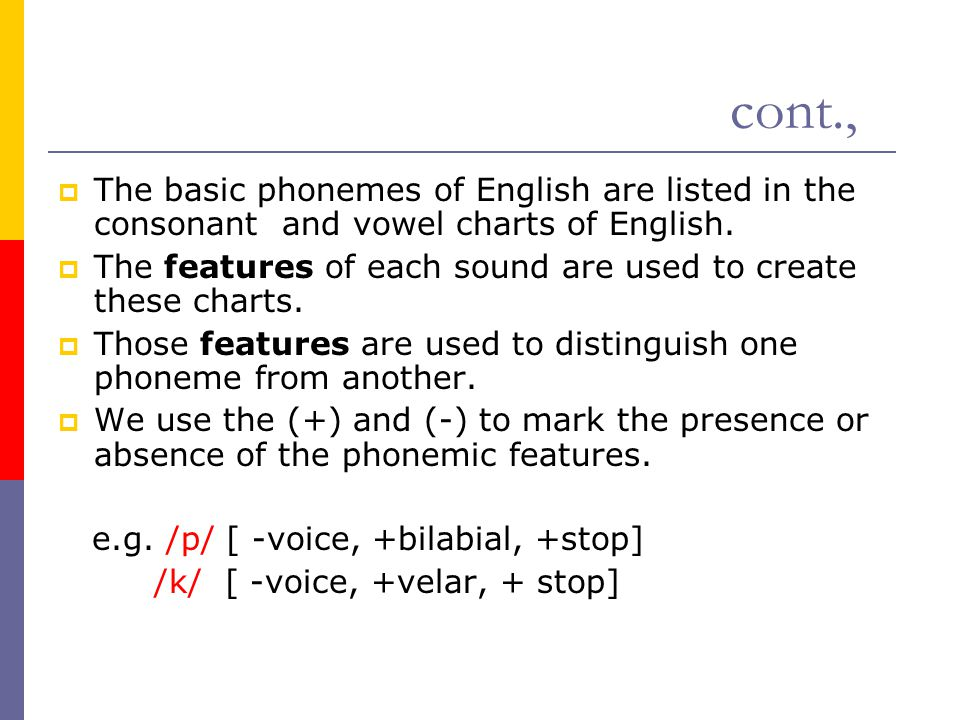 cont., The basic phonemes of English are listed in the consonant and vowel charts of English.