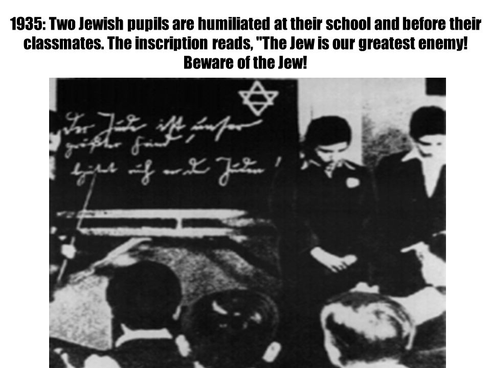 1935: Two Jewish pupils are humiliated at their school and before their classmates.