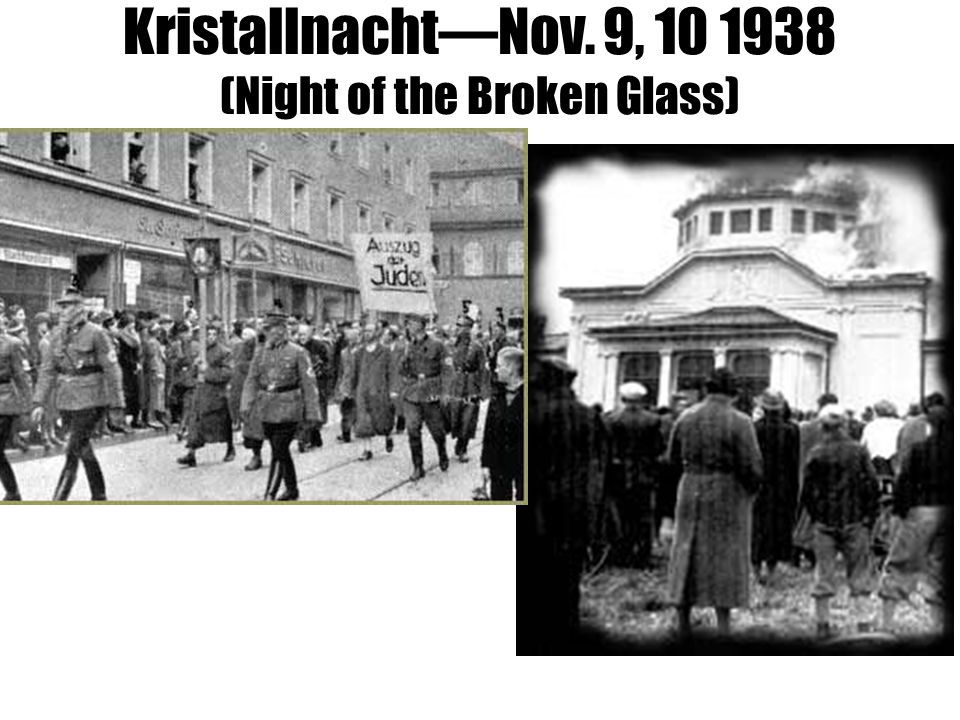 Kristallnacht—Nov. 9, 10 1938 (Night of the Broken Glass)