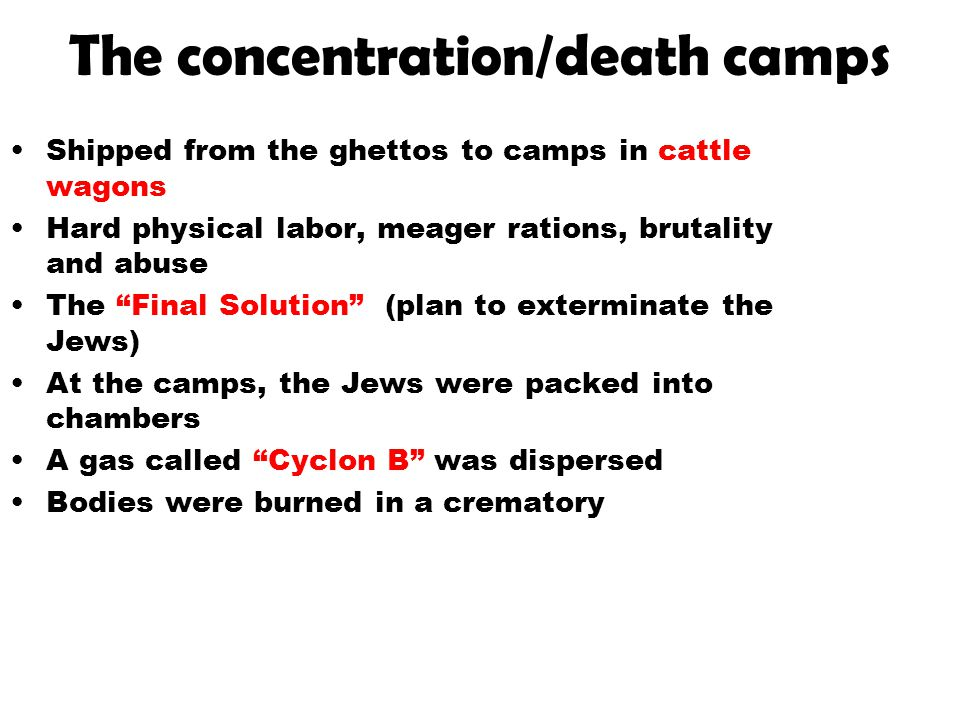 The concentration/death camps