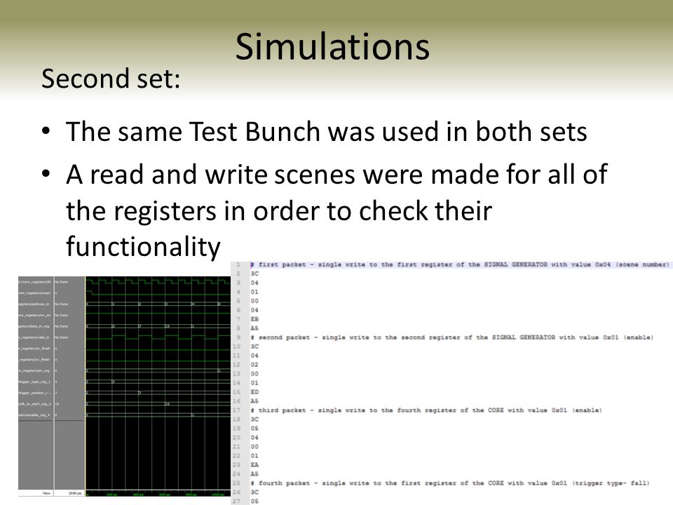 Simulations Second set: The same Test Bunch was used in both sets