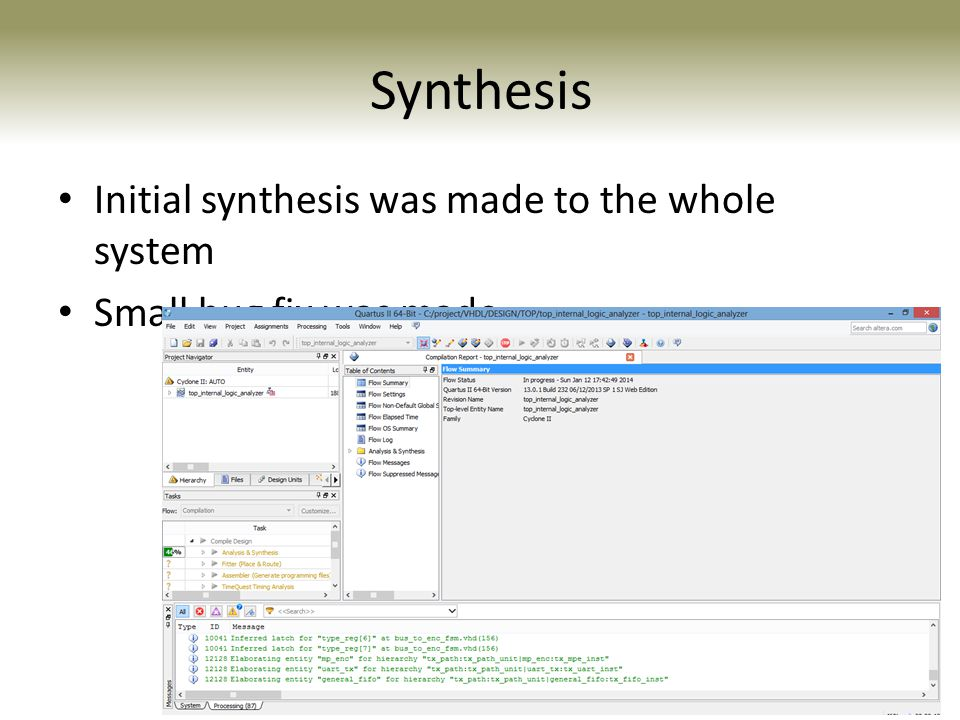 Synthesis Initial synthesis was made to the whole system