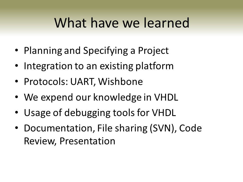 What have we learned Planning and Specifying a Project