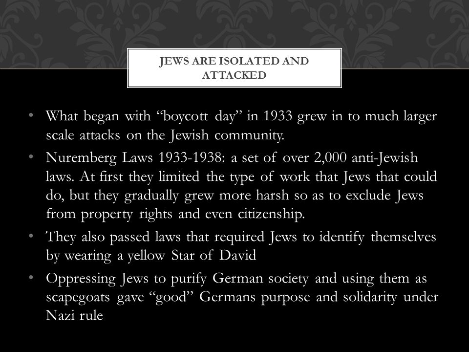 Jews are isolated and attacked