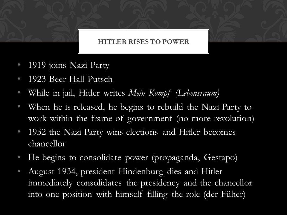 While in jail, Hitler writes Mein Kompf (Lebensraum)
