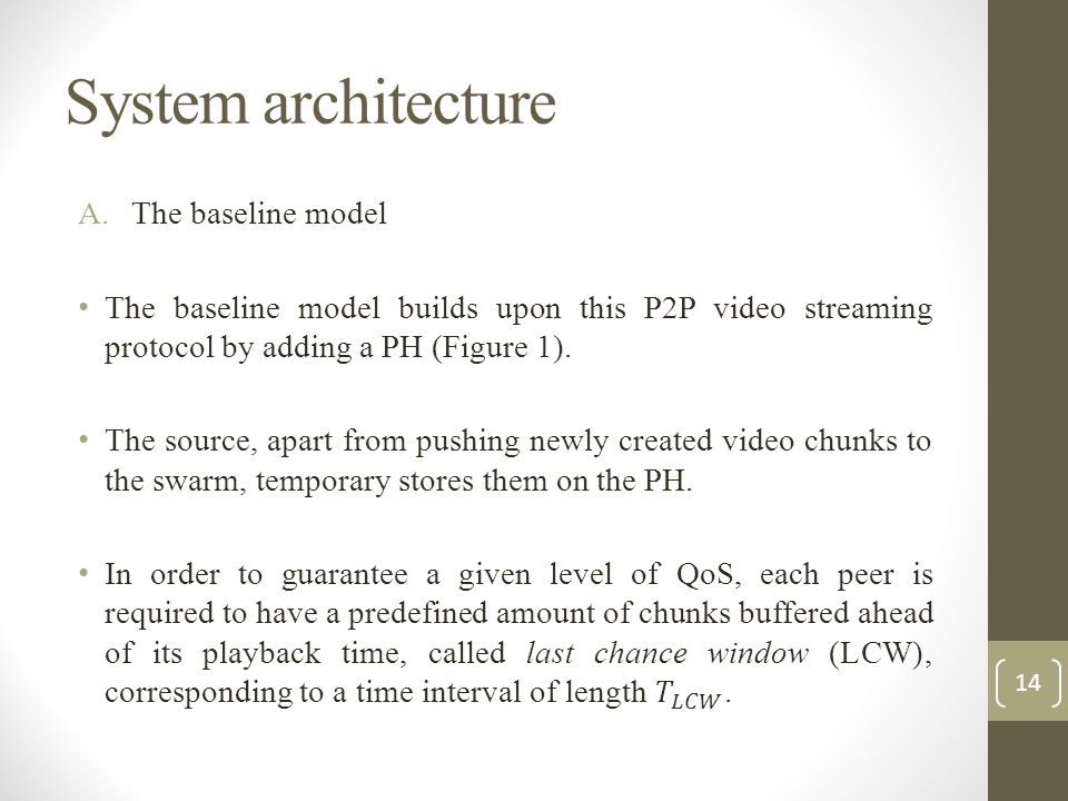 System architecture The baseline model