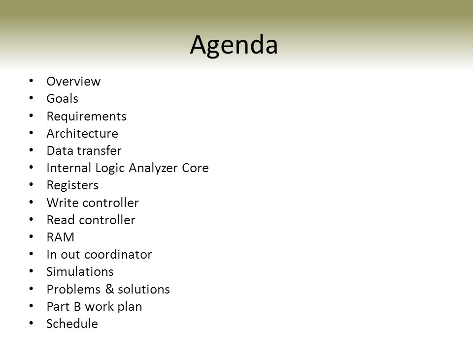 Agenda Overview Goals Requirements Architecture Data transfer