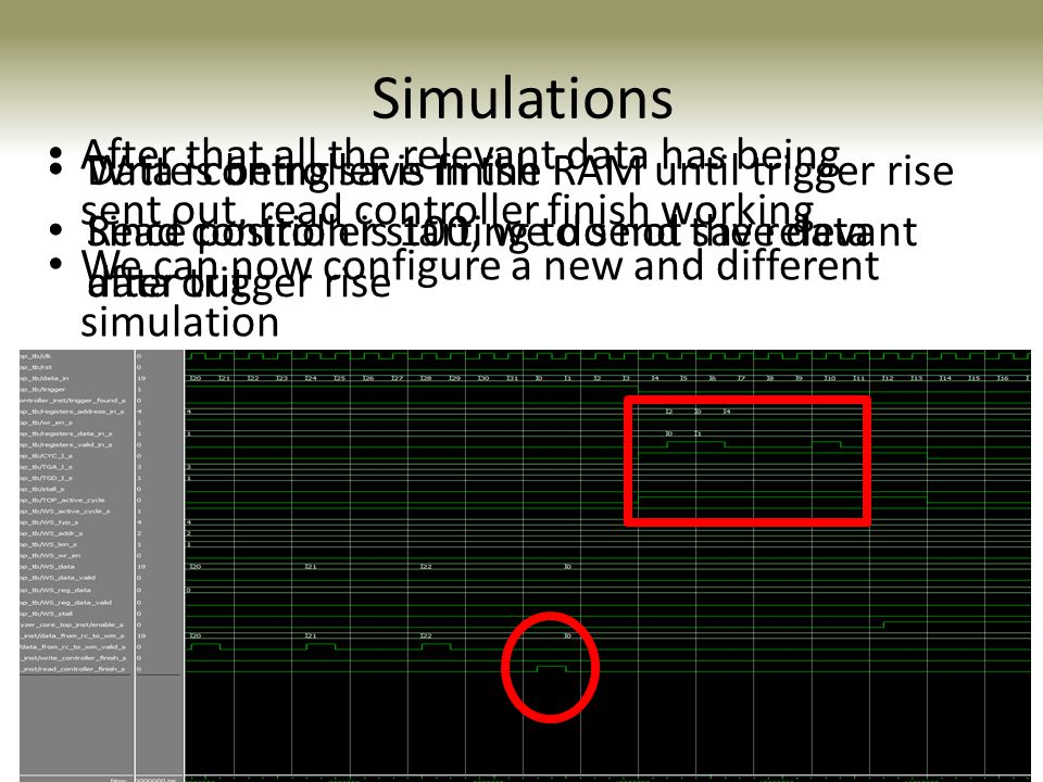 Simulations After that all the relevant data has being sent out, read controller finish working. We can now configure a new and different simulation.