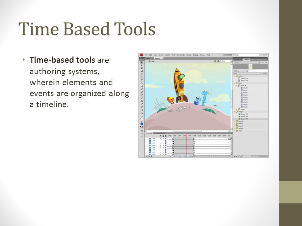 Time Based Tools Time-based tools are authoring systems, wherein elements and events are organized along a timeline.
