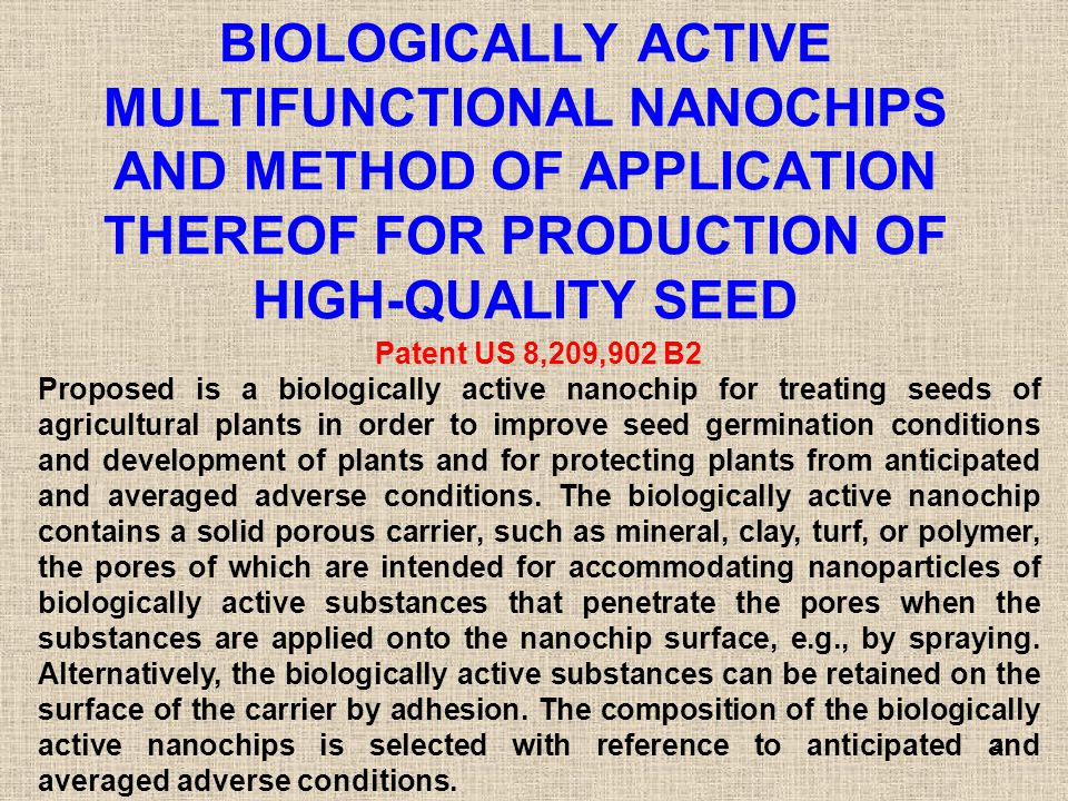 BIOLOGICALLY ACTIVE MULTIFUNCTIONAL NANOCHIPS AND METHOD OF APPLICATION THEREOF FOR PRODUCTION OF HIGH-QUALITY SEED