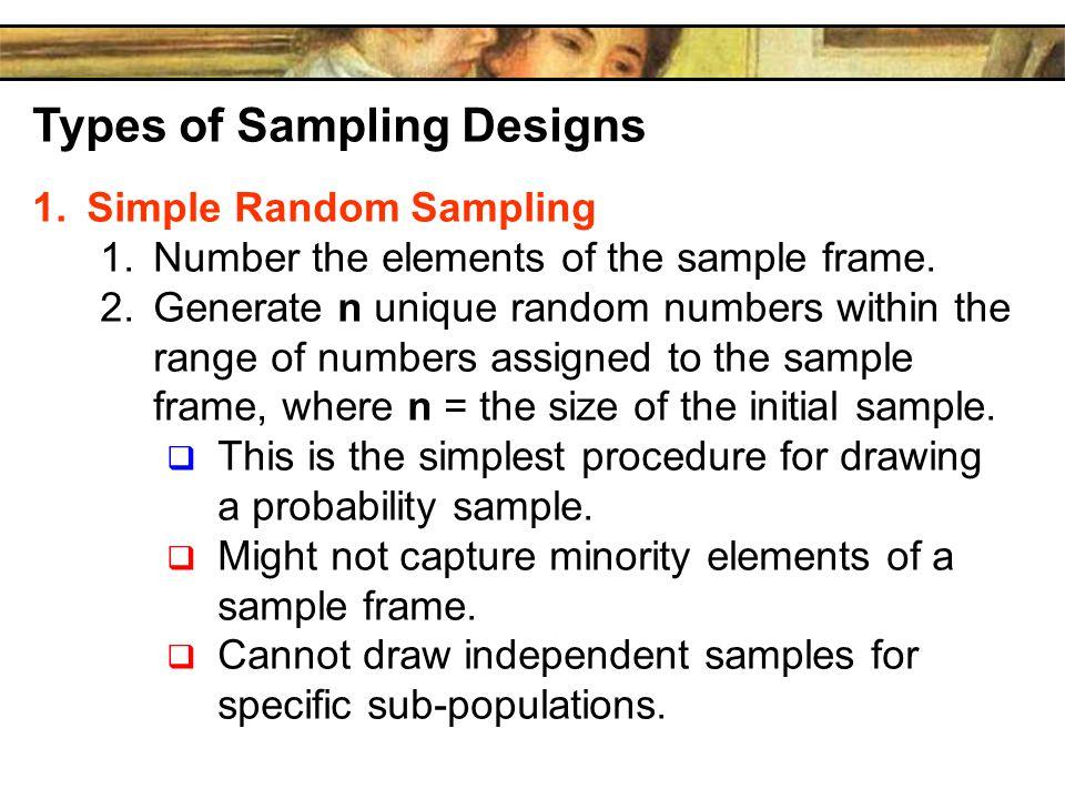Types of Sampling Designs