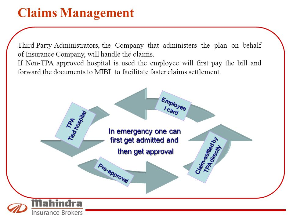 Claims Management Third Party Administrators, the Company that administers the plan on behalf of Insurance Company, will handle the claims.