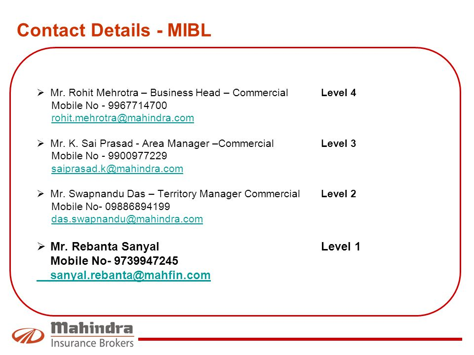 Contact Details - MIBL Mr. Rebanta Sanyal Level 1