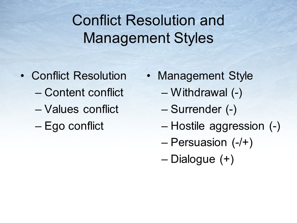 Conflict Resolution and Management Styles