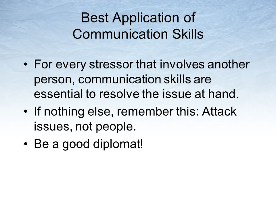 Best Application of Communication Skills