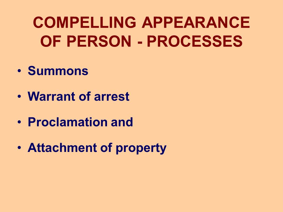 COMPELLING APPEARANCE OF PERSON - PROCESSES