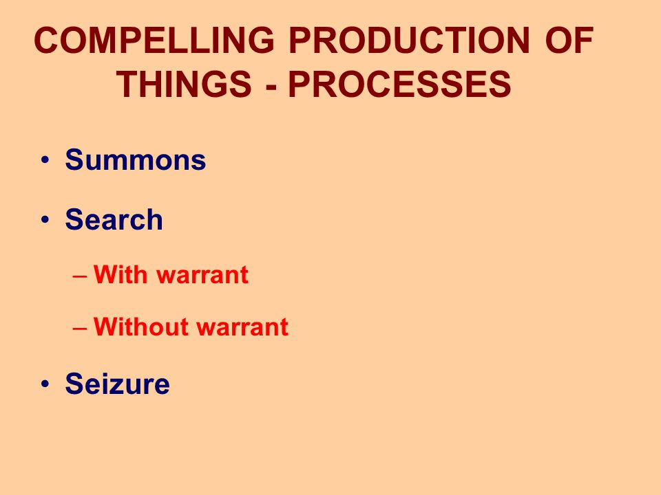 COMPELLING PRODUCTION OF THINGS - PROCESSES