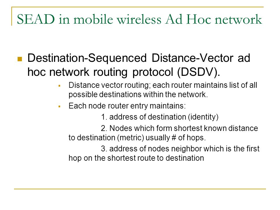 SEAD in mobile wireless Ad Hoc network