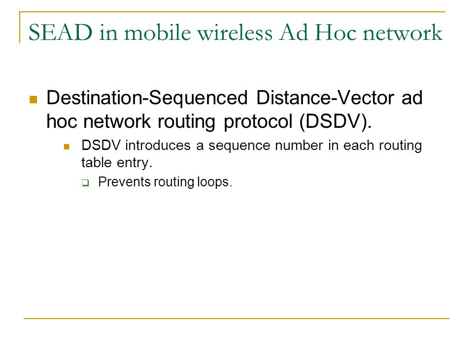 SEAD in mobile wireless Ad Hoc network