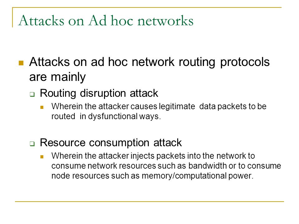 Attacks on Ad hoc networks