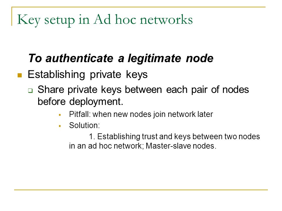 Key setup in Ad hoc networks