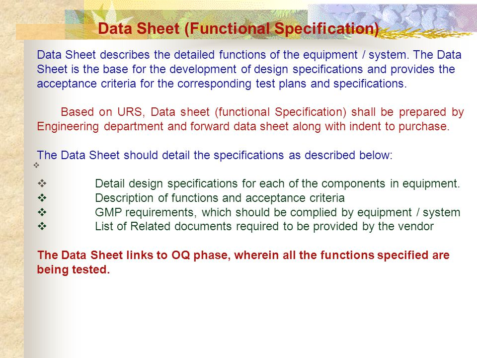 Data Sheet (Functional Specification)