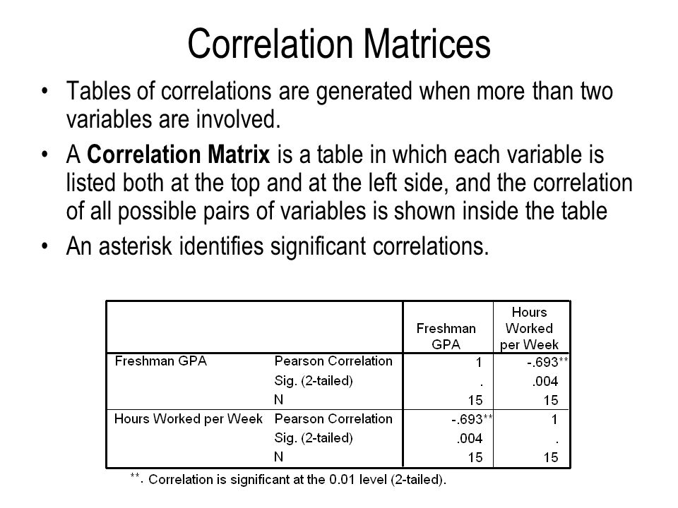 Correlation Matrices Tables of correlations are generated when more than two variables are involved.