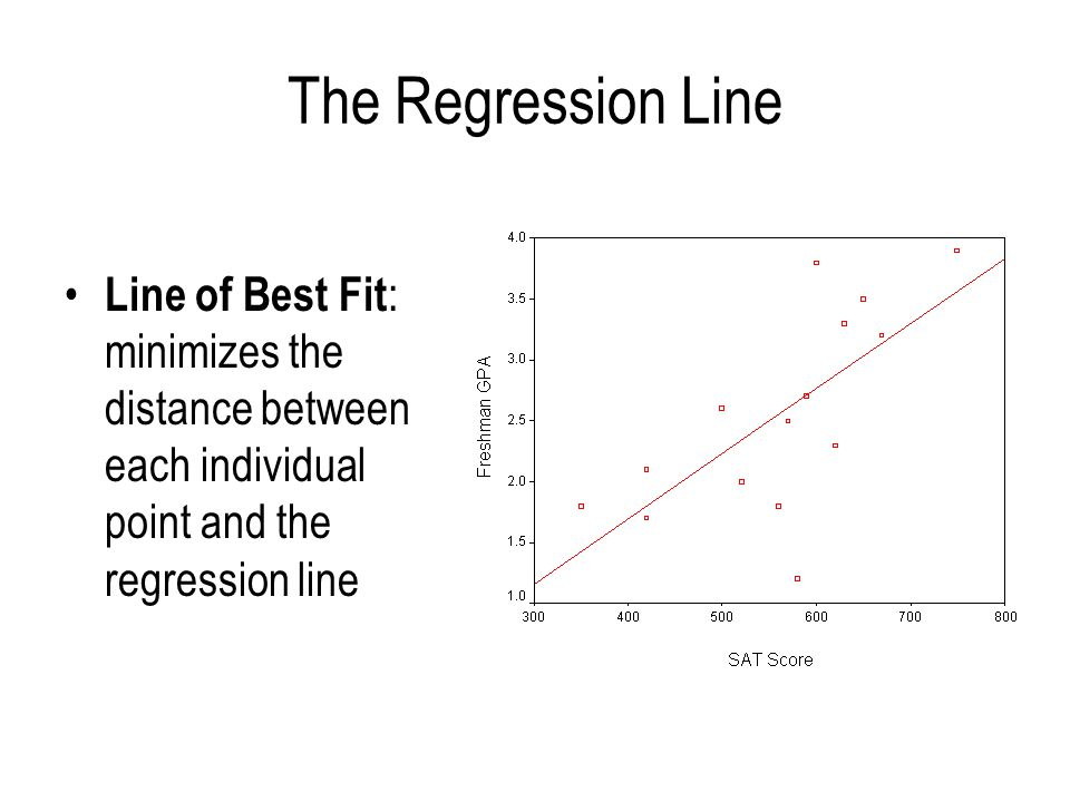 The Regression Line Line of Best Fit: minimizes the distance between each individual point and the regression line.