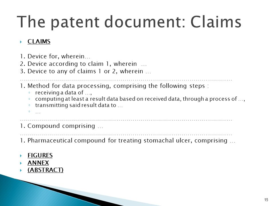 The patent document: Claims