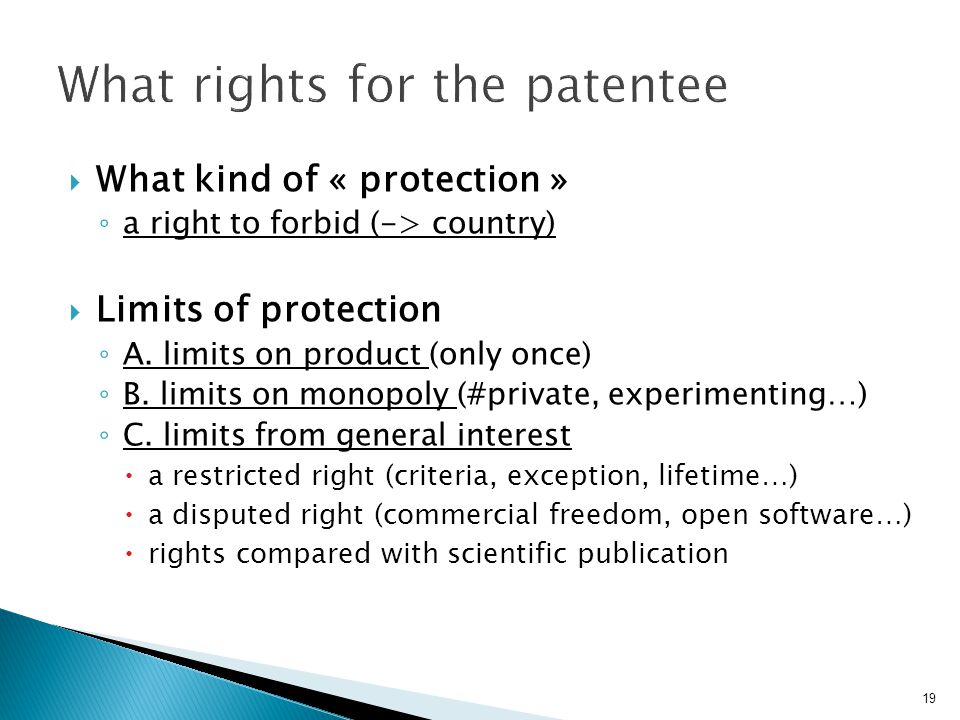 What rights for the patentee