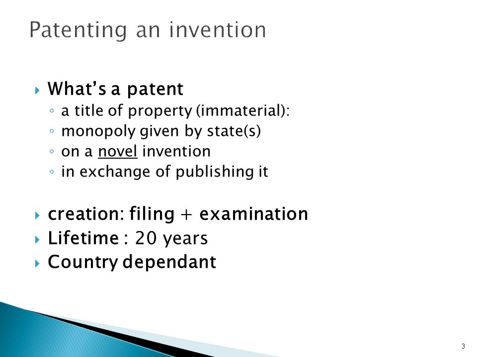 Patenting an invention