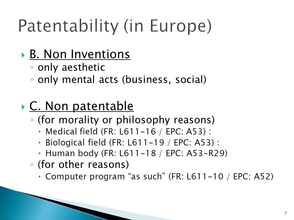 Patentability (in Europe)